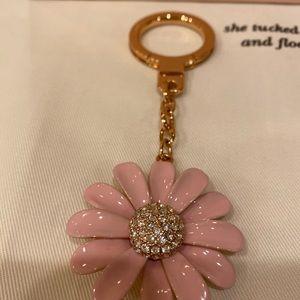 Kate spade enamel pink daisy key fob